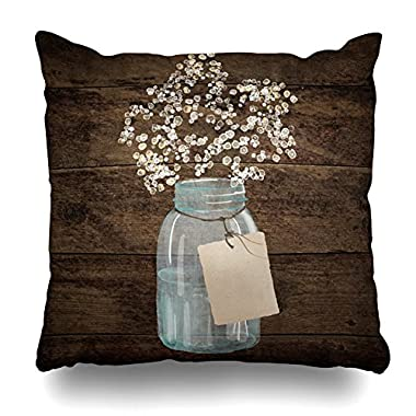 suesoso PillowCover 18 x18  rustic barn wedding wood mason jar babys breath Throw Pillow Cover Home Decorative Cushion Case Pillow Case sofa bed car living home with hidden zippered in soft catoon