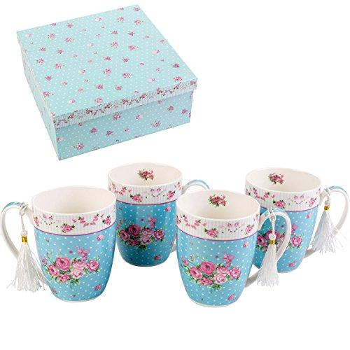 London Boutique K414 Lot de 4 tasses Ensemble cadeau, Rose Bleu
