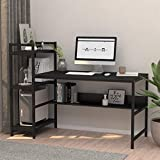 Computer Desk with 4 Tier Storage Shelves - 41.7'' Student Study Table with Bookshelf Modern Wood Desk with Steel Frame for Small Spaces Home Office Workstation Black