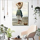 Sadhaf decoración nórdica para el hogar hermosa chica póster lienzo pared arte imagen sala mural A1 30x40 cm