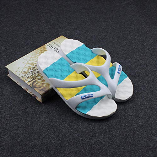 TDYSDYN Chanclas Ligeras con Chanclas para Hombres,Sandalias y Zapatillas Rainbow Four Seasons, Zapatos de Playa de Suela Suave para Interiores y Exteriores-Azul Rayado_41