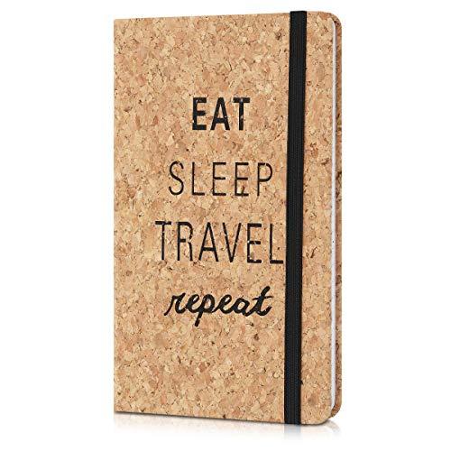 Navaris Quaderno con Copertina in Sughero - Taccuino a Righe con Segnalibro e Banda Elastica - Paper Note-Book 17.5x10x1.5cm - Design Eat Sleep Travel