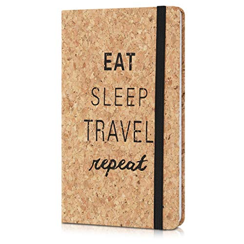 Navaris Quaderno con Copertina in Sughero - Taccuino a Righe con Segnalibro e Banda Elastica - Paper Note-Book 17.5x10x1.5cm - Design Eat Sleep Travel