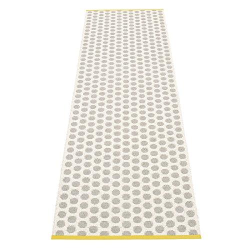 pappelina Noa Teppich 70x250cm, grau vanille senfgelber Streifen wendbar