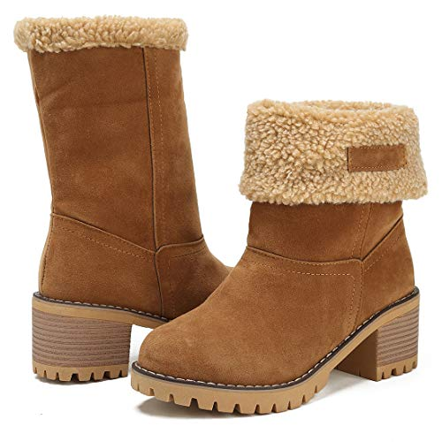 DOTACOKO Women Cute Warm Short Boots Suede Chunky Mid Heel Round Toe Winter Snow Ankle Booties Camel 8