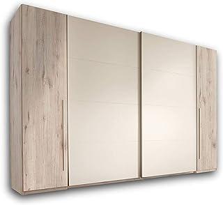 Armadio porta armadio scorrevole con mensole e barre appendiabiti materiali di legno con specchio adatto per camera da letto,261 x 59 x 210 cm