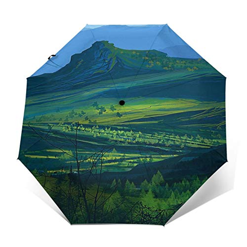 TISAGUER Paraguas automático de Apertura/Cierre,Hermoso Paisaje Natural,Bosque Verde y Altas montañas,Paraguas pequeño Plegable a Prueba de Viento