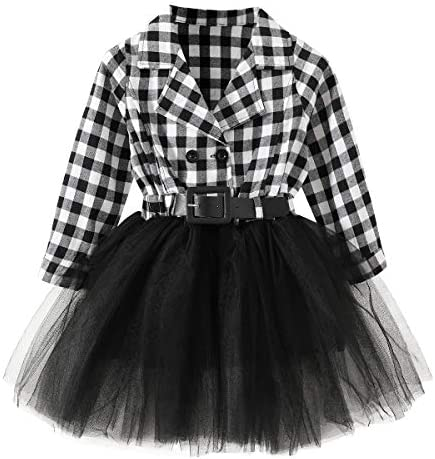 Little Baby Girl Black and White Dress Buffalo Plaid Tutu Skirt Party Princess Formal Outfit product image
