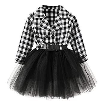 Little Baby Girl Black and White Dress Buffalo Plaid Tutu Skirt Party Princess Formal Outfit Clothes