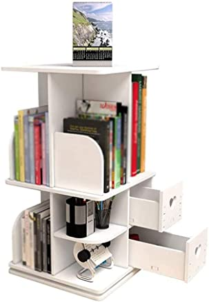 NILINFAN Multi-function Rotating Bookshelf - Table Shelf Racks Student Computer Desk Bookcase Simple Desk Storage Rack