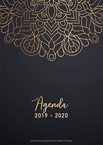 Agenda 2019/2020: 17 mois journalier 2019-20 - format A5 - août 2019 à décembre 2020 - planificateur, semainier simple & graphique, motif mandala or et noir