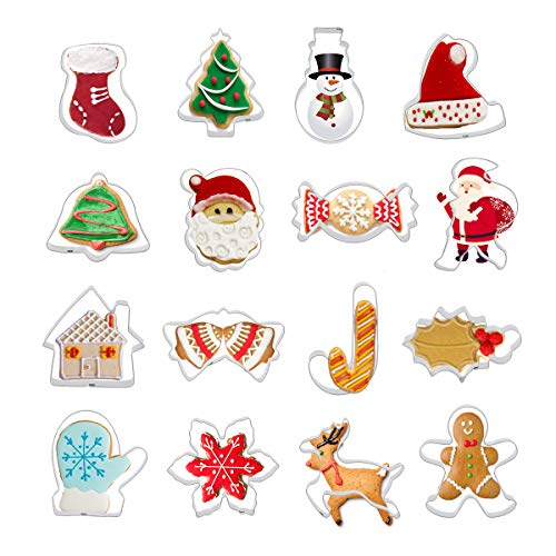 Colmanda Moldes para Galletas Navidad, 16 Piezas Navidad Cortadores de Galletas Moldes para Galletas Moldes Galletas 3D, Juego de Cortadores Galletas De Navidad para Decoración de Cookie Navidad (C)