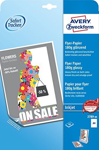AVERY Zweckform 2789-40 Inkjet Flyer-Papier (A4, beidseitig beschichtet, glänzend, 180 g/m², 40 Blatt)