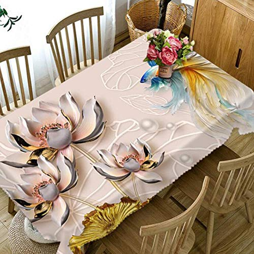 BXM 3D Tafelkleed Magnolia Bloem Patroon Stofdicht Eettafel Tafelkleed Rood Rose Bruiloft Polyester Tafelhoes