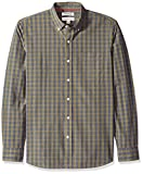 Amazon Brand - Goodthreads Men's Standard-Fit Long-Sleeve Plaid Poplin Shirt with Button-Down Collar, olive check, XX-Large