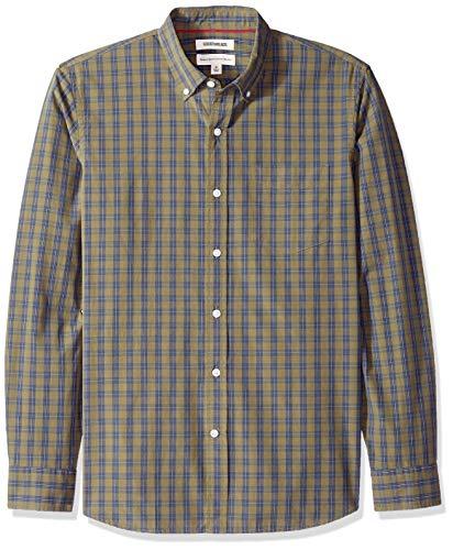 Marchio Amazon - Goodthreads, Camicia a maniche lunghe, in popeline con motivo scozzese, con colletto a bottoni, da uomo, Verde (Olive Check Oli), US XL (EU XL - XXL)
