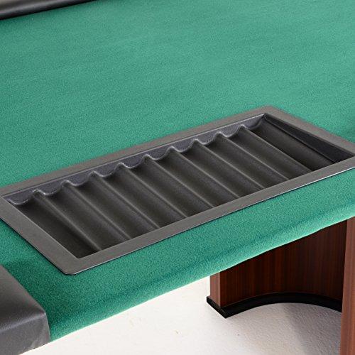 Nexos Pokertisch massiv Casinotisch aus Holz für Poker mit grünem Filzbezug Armlehnen eingelassener Chiptray für 10 Spieler - 4