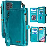 MInCYB Case for iPhone 12 Pro Max, iPhone 12 Pro Max Leather Wallet Case, 2 in 1 Zipper Detachable Magnetic Flip Folio Covers with Wristlet Strap, Suitable for Apple iPhone 12 Pro Max.