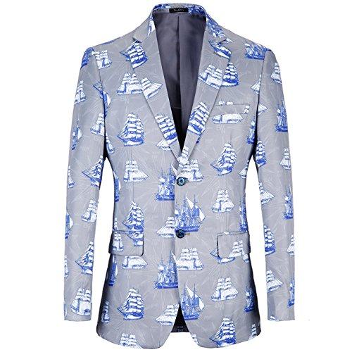 Legogo Modern Slim Fit Floral bedrukte jas voor heren, blazer