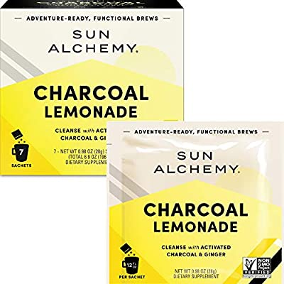 Sun Alchemy Charcoal Lemonade, Detox & Cleanse with Organic Lemon Juice, Coconut Water, Activated Charcoal, Ginger & Schisandra - 7 Sachets | Just Add Water & Enjoy from Terrasoul Superfoods