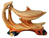 StealStreet MME-970 Ss-Ug-Mme-970, 5' Single Dolphin Scene Carving Faux Wood Figurine, Brown