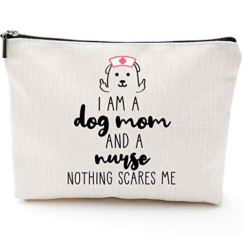 Funny Gifts for Nurses, Dog Mom,Gifts for Dog Lovers for Nurse Women,Funny Dog Gifts Dog Lovers-I am Dog Mom And Nurse Nothing Scares Me-Nurse Makeup Bag