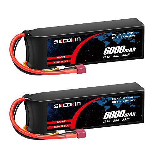 Socokin 11.1V Lipo Battery 3S 50C 6000mAh with Deans Plug for RC Model Racing Car RC Car Truck Boat RC Quadcopter Airplane Drone Helicopter (2 Pack)