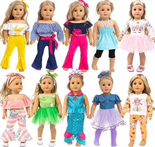 ZITA ELEMENT 10 Complete Sets 18 Inch Doll Clothes Dress and Accessories for American 18 Inch Girl Doll Generation Life Doll Clothes Outfits, Total 24 Pcs Doll Clothes for 18 Inch Dolls Xmas Gift