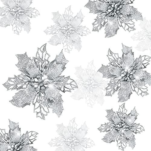 decorazioni natalizie argento Gwhole 21 Pezzi Fiori per Albero di Natale Poinsettia Glitter Fiore di Stella Fiore Artificiale Argento Decorazioni Ornamenti Ciodoli e Addobbi per Albero Natalizio e Ghirlande