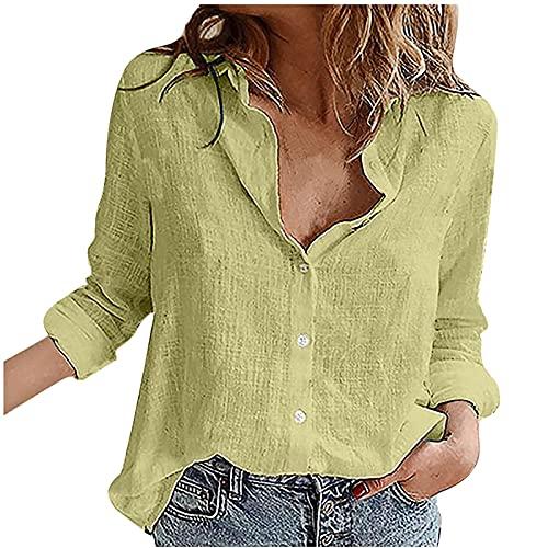 Dames herfst en winter tops, mode dames losse linnen knoop vaste revers lange mouwen T-shirt blouses tops, T-shirts voor vrouwen, herfst en winter blouse, groen, M