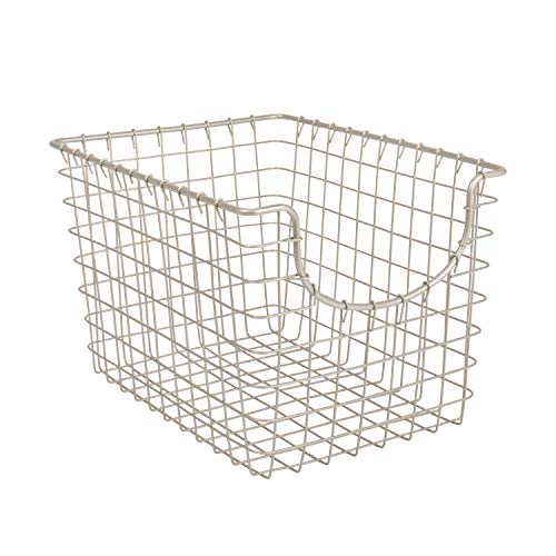 Spectrum Diversified Scoop Wire Basket, Vintage-Inspired Steel Storage Solution for Kitchen, Pantry, Closet, Bathroom, Craft Room & Garage, Small, Satin Nickel