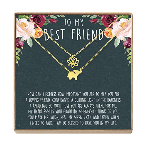 Best Friend Necklace - Heartfelt Card & Jewelry Gift for Birthday, Holiday, More (Lotus and Elephant Gold)