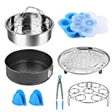 Instant Pot Accessories Set,8 Pcs Pressure Cooker Accessories Fit 5 6 8Qt Steamer Basket Springform Pan, Egg Bites Mold, Egg Steamer Rack, Kitchen Tongs, Silicone Oven Mitts