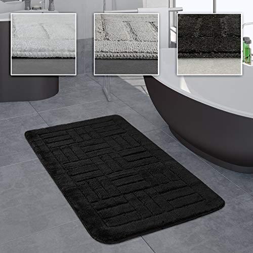 Paco Home Salle De Bain Tapis Tapis De Bain Motif À Carreaux Dif. Tailles/Coloris, Dimension:80x150 cm, Couleur:Noir