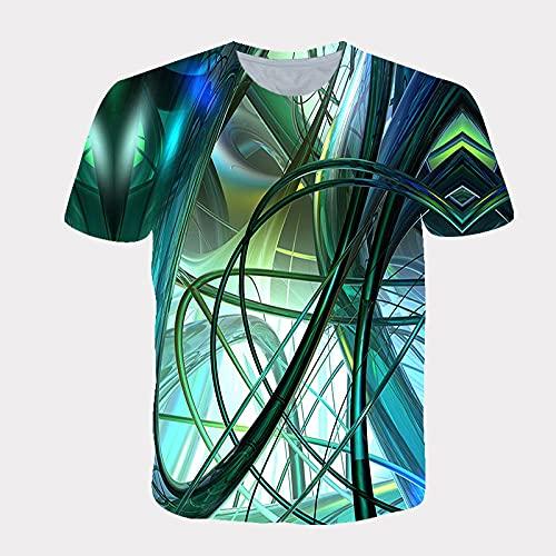 LIUBAOBEI 3D Camisetas para Hombre,Patrón De Línea Colorida Verano Camiseta Estampada En 3D Hombres Mujeres Moda Streetwear O-Cuello De Manga Corta Camiseta De Hip Hop Camisetas Harajuku Ropa-M