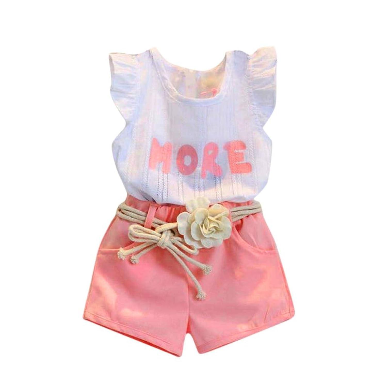 Goodlock Toddler Kids Fashion Clothes Set Baby Girls Print Sleeveless T-Shirt+Shorts+Belt Outfits Set 3Pcs bvyovx4615669