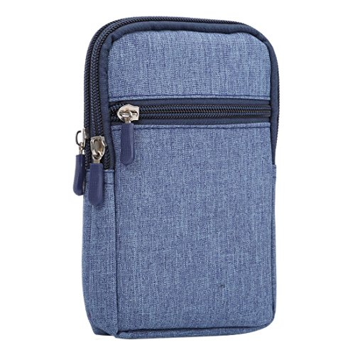 DFVmobile - Universal Multi-Functional Vertical Stripes Pouch Bag Case Zipper Closing Carabiner for UHAPPY UP920 - Blue (17 x 10.5 cm)