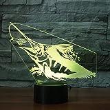 3D Lampe Angeln Nachtlicht Fisch Modell Illusionslampe LED 7 Farbwechsel USB Touch Kinderzimmer Led Kinderlampe