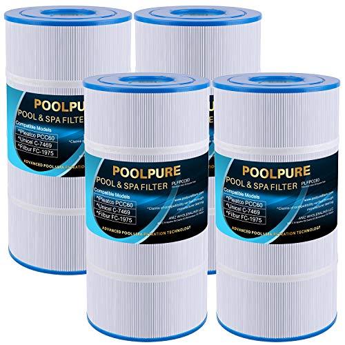POOLPURE Replacement for Pool Filter Pleatco PCC60-PAK4, Pentair PCC240, Unicel C-7469, R173572, Filbur FC-1975, Clean and Clear Plus 240, 817-0063, 178569, 4 X 60 sq. ft. Filter Cartridge