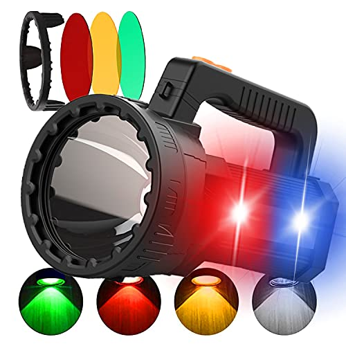 HMAN Spotlight Handheld 9600mAh LED Rechargeable Flashlight 55W Super Bright 6000 Lumens Flashlight, Waterproof Spotlight Colored lens Hunting, Red Blue Warning Lamp for Home Security, Boat, Camping