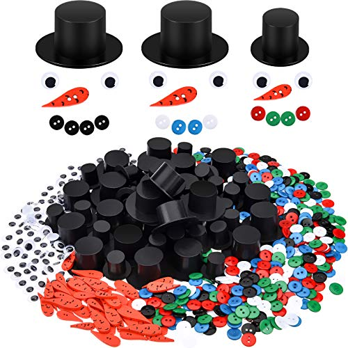 WILLBOND 700 Pieces Christmas Embellishments Kit Includes Mini Black Top Hats Wiggle Eyes Carrot Nose Buttons Christmas Mix Color Buttons for Xmas DIY Craft Sewing Accessories
