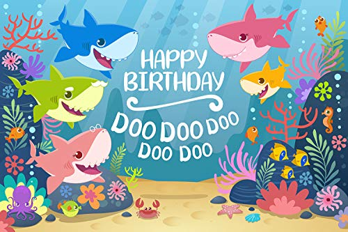 GYA Cartoon Cute Shark Happy Birthday Theme Backdrop for Photography Under The Sea Birthday Party Background Baby Shower Kids Party Newborn Child Family Portrait Studio Props 5x3ft