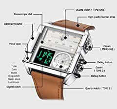 JSDDE Men's Brown Square Digital Electronic Genuine Leather Band 3ATM Waterproof LCD Sport Watch Casual Business Quartz Military Multifunction Back Light #5