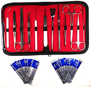 20 Pcs - Advanced Stainless Steel Biology Lab/Anatomy/Medical Student Dissection Kit Set - Scalper Knife Handle, Blades, Forceps, Scissors and Tweezers - 12 Instruments, 8 Blades