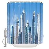 vrupi Badezimmer Dekoration Duschvorhang-New York City View 71x71inch hochwertige Polyester wasserdichtes Gewebe Duschvorhang einschließlich 12 Kunststoffhaken verdickt Duschvorhang
