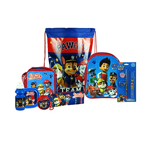 Paw Patrol 8PC Back to School Bundle - inc Backpack, Drawstring Sports Bag, Insulated Lunch Bag, Sandwich Box, Water Bottle, Coin Pouch, Pencil Case & Stationery Set.
