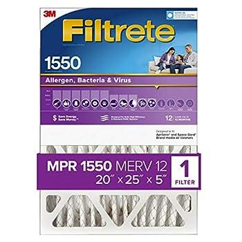 Filtrete 20x25x5 AC Furnace Air Filter MPR 1550 DP Healthy Living Ultra Allergen Deep Pleat 1-Pack  actual dimensions 19.56 x 24.13 x 4.75