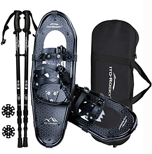 Ito Rocky Sawtooth Snowshoes for Men and Women - Aluminum Terrain Snow Shoes with Trekking Poles and Carrying Tote Bag - 25 Inches