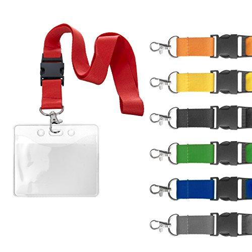 Karteo® Ausweishülle Ausweishüllen mit 25 mm Band Schlüsselband Lanyard blau aus geflochtenem Polyester mit Metalldrehhaken und Sicherheitsverschluss Vinylplastik weich Plastik transparent für Karten