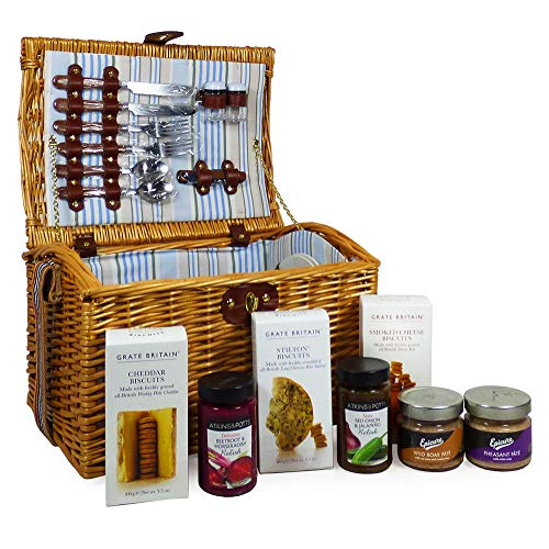 The Newgrove Crackers & Pate Fine Food Picnic Hamper Basket for 2 Persons - Gift idea for Christmas, Anniversary, Wedding, Mothers Day, Business and Corporate